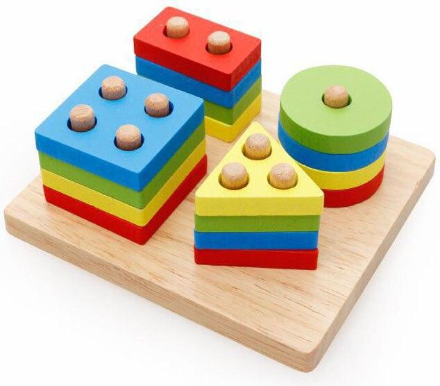 Baby Kids Rainbow Wooden 4 Column Blocks Sets Educational Geometric Shape Matching Toys for Children Animal Stacking Oyuncak