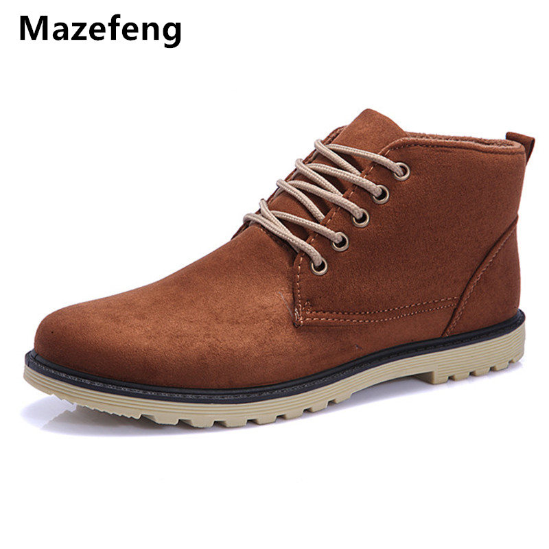 New Fashion Men Boots Leather Suede Male Casual Shoes Men Ankle Boots Breathable High Quality Men Boots shoes High-top chilenxas autumn warm winter leather footwear shoes men casual new fashion ankle boots breathable light hard wearing anti odor