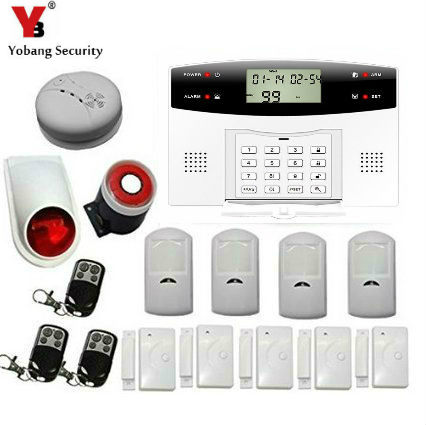 YoBang Security Wireless GSM Home Security Alarm System Russian French Ltalian Voice Smoke Door PIR Alarm Sensor +Smoke Alarm
