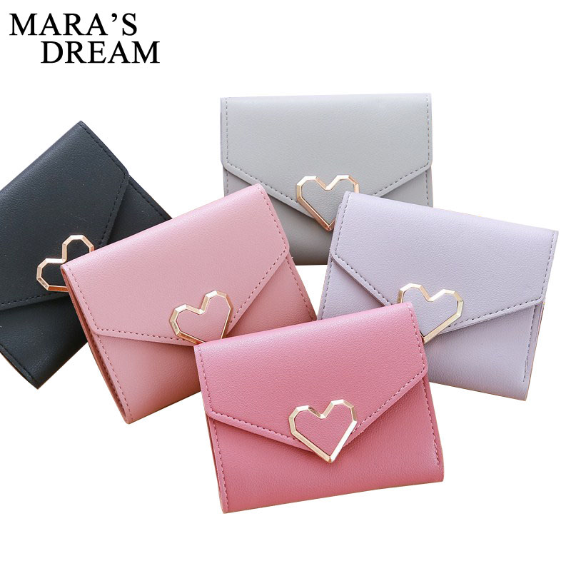 Mara's Dream 2019 Love Heart Short Wallet Purse For Fashion Lady, Lovely Mini Day Clutch & Small Women Wallet For Card Coin Bags