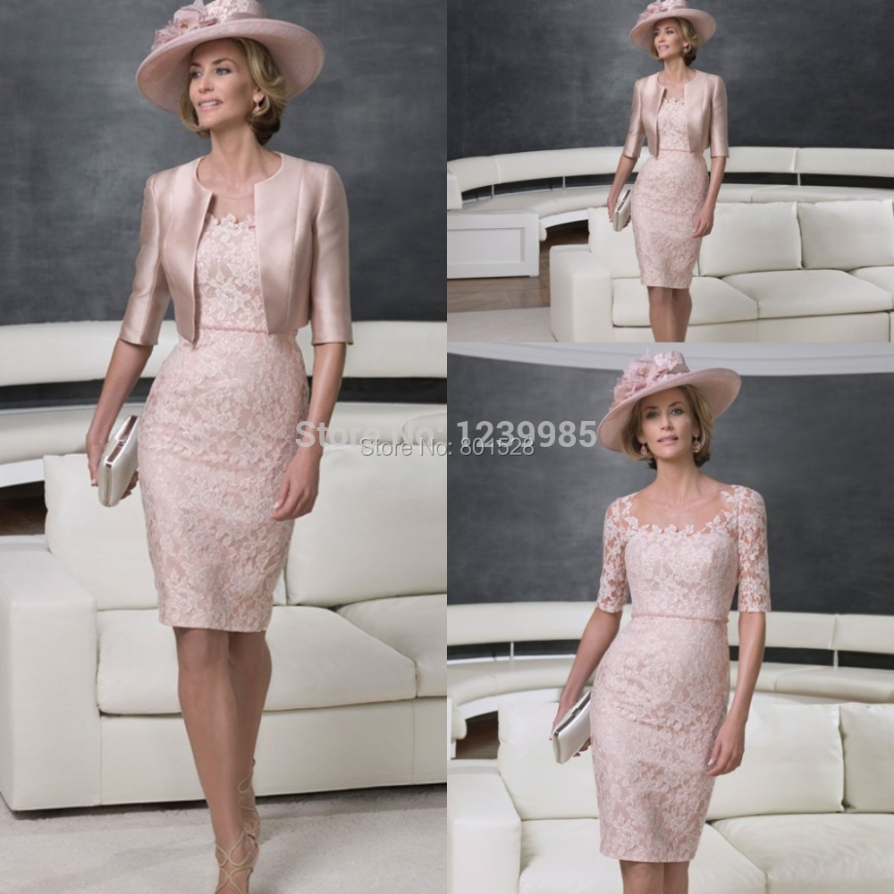 New Arrival Elegant Pink Short Mother Of Bride Dress With Jacket Half Sleeves Lace Evening Gown Knee Length Party Dress 2017 ...