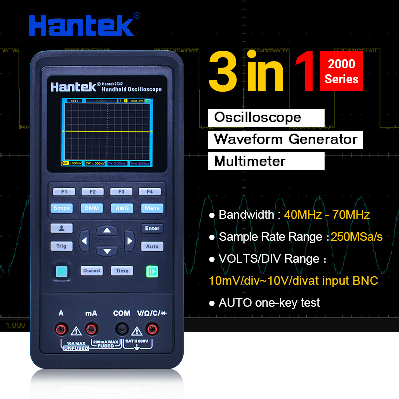 Numérique Oscilloscope + Forme D'onde Générateur + Multimètre Portable USB 2 Canaux 40 mhz 70 mhz Couleur point culminant Affichage Test Compteur outils