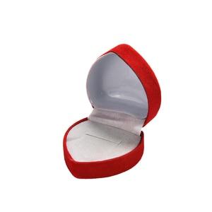 Image 4 - Wholesale 24Pcs Romantic Velvet Birthday engagement Ring Box Red Heart Shaped Valentines Day Ring Gift Box Velvet Ring Box