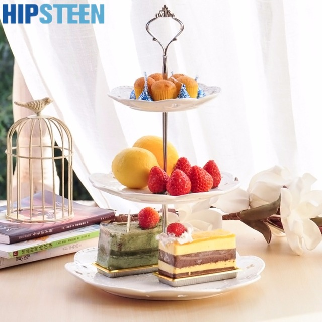 hipsteen 3 tier cupcake stand ceramics material crown design butterfly patterns stand wedding birthday cake display