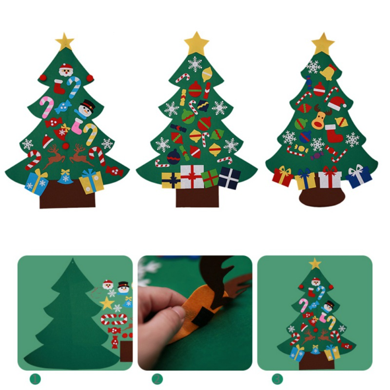 e00bdd2c2a64 DIY Felt Christmas Tree Decoration For Home Window Glass Stickers Wall For  Children s New Years Gifts