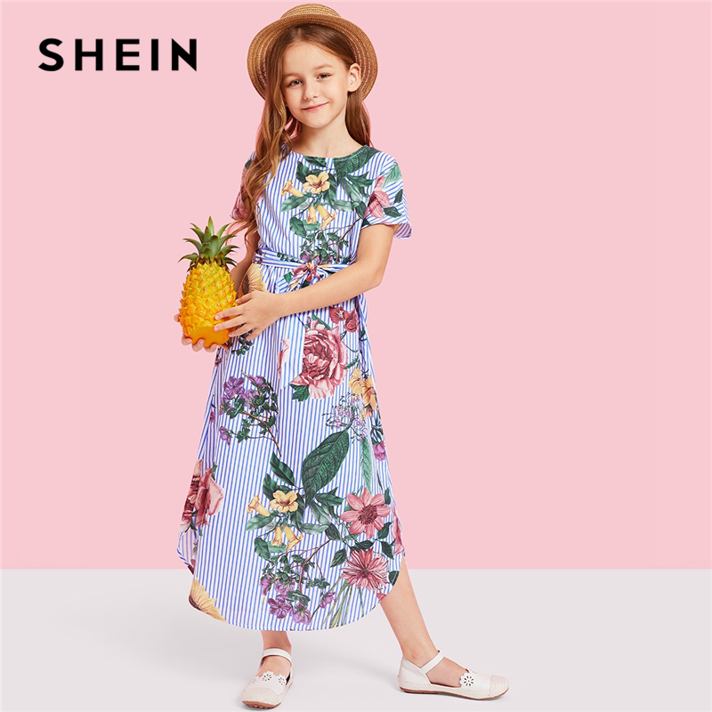SHEIN Girls Flower Print Striped Long Casual Dress Girls Clothes 2019 Spring Korean Fashion Short Sleeve Belted Kids Dresses self belted button up plaid print dress