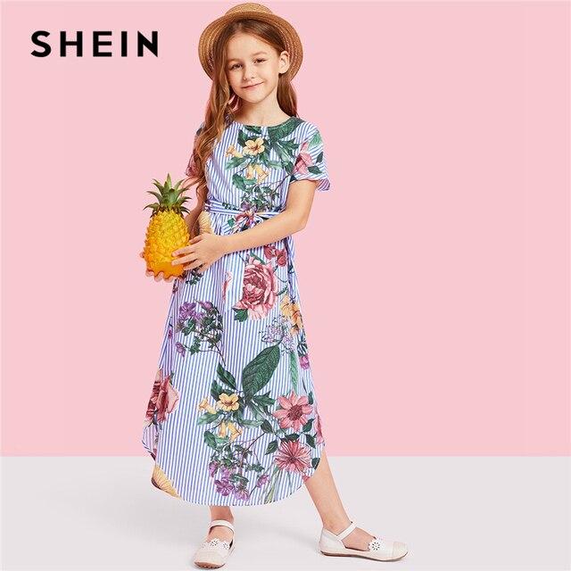 SHEIN/длинное Повседневное платье в полоску с цветочным принтом для девочек; Одежда для девочек; коллекция 2019 года; весенние корейские модные детские платья с короткими рукавами и поясом