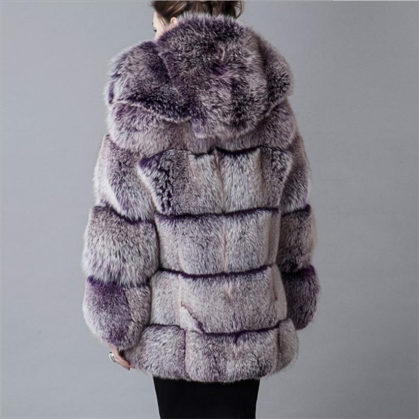 Gros Capuche Nouveau Femmes Outwear D'hiver Mode De Manteau À L1308 Renard Grey 2018 Fourrure Couture En Longues Veste Faux Imitation wU8Pqq