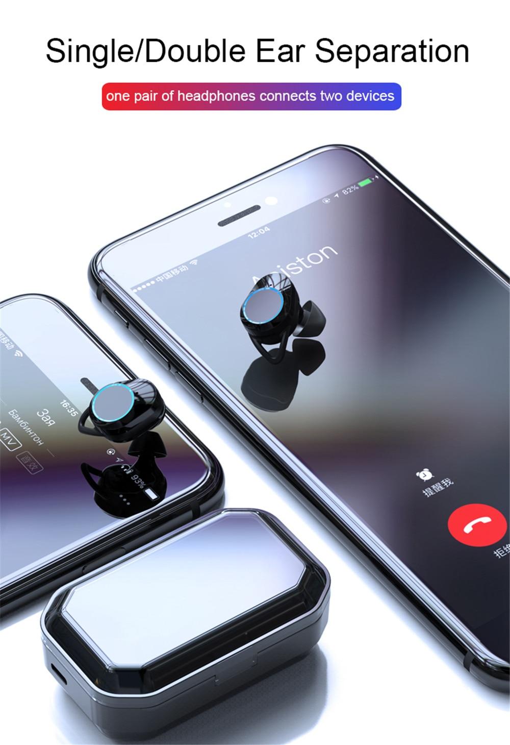 dwaterproof água fones 3300 mah led smart power bank telefone titular