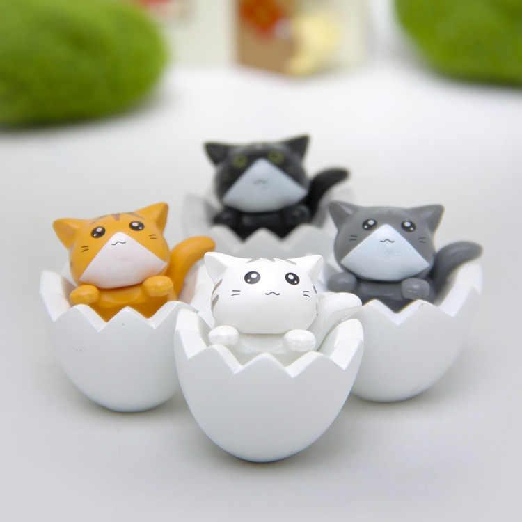 4 pcs PVC casca de ovo gato K-imã de geladeira Brinquedos Mini figuras de decoração para casa de jardinagem paisagem brinquedos Criativos presente para crianças