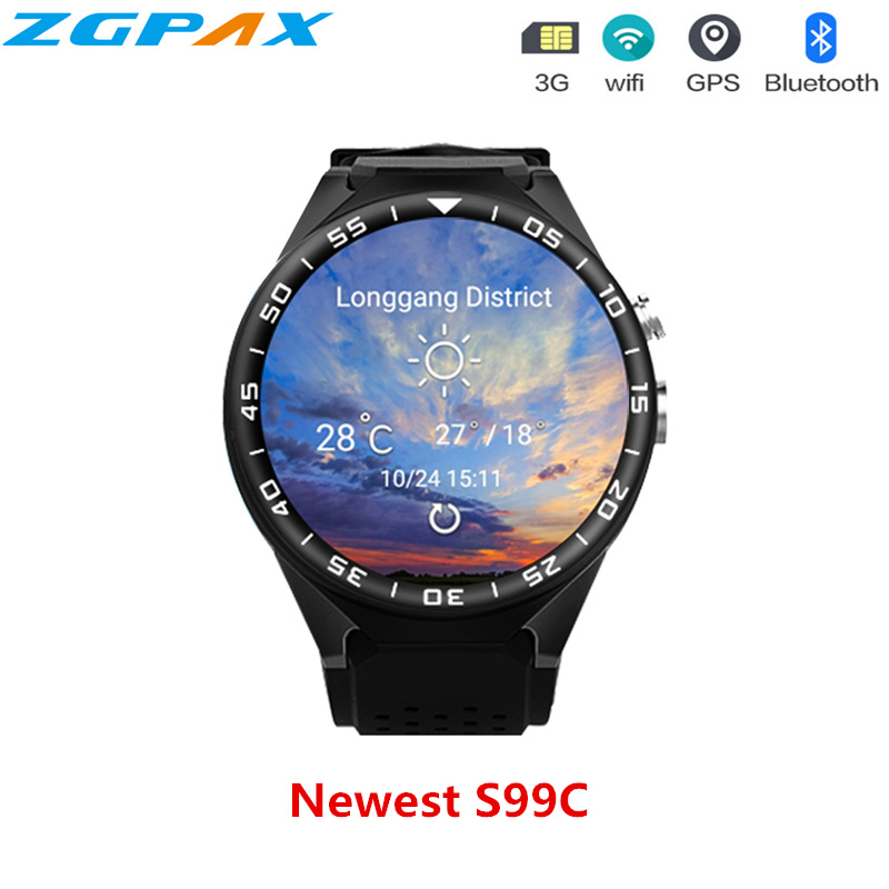 2018 New Arrival S99C Smart Watch MTK6580 Android 5.1 OS Resolution 360*360 Support Nano Sim Card Wifi GPS Heart Rate Monitor smart baby watch q60s детские часы с gps голубые