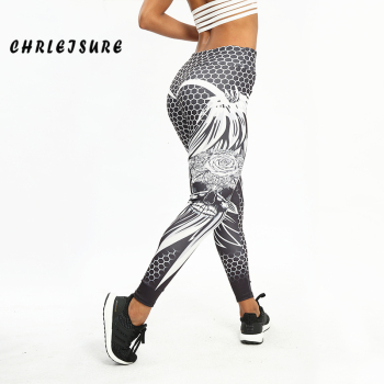 CHRLEISURE Honeycomb Skull Fitness Leggings Solid Color Sexy Fashion Print Leggings Polyester Wings High Waist Women Legging 1