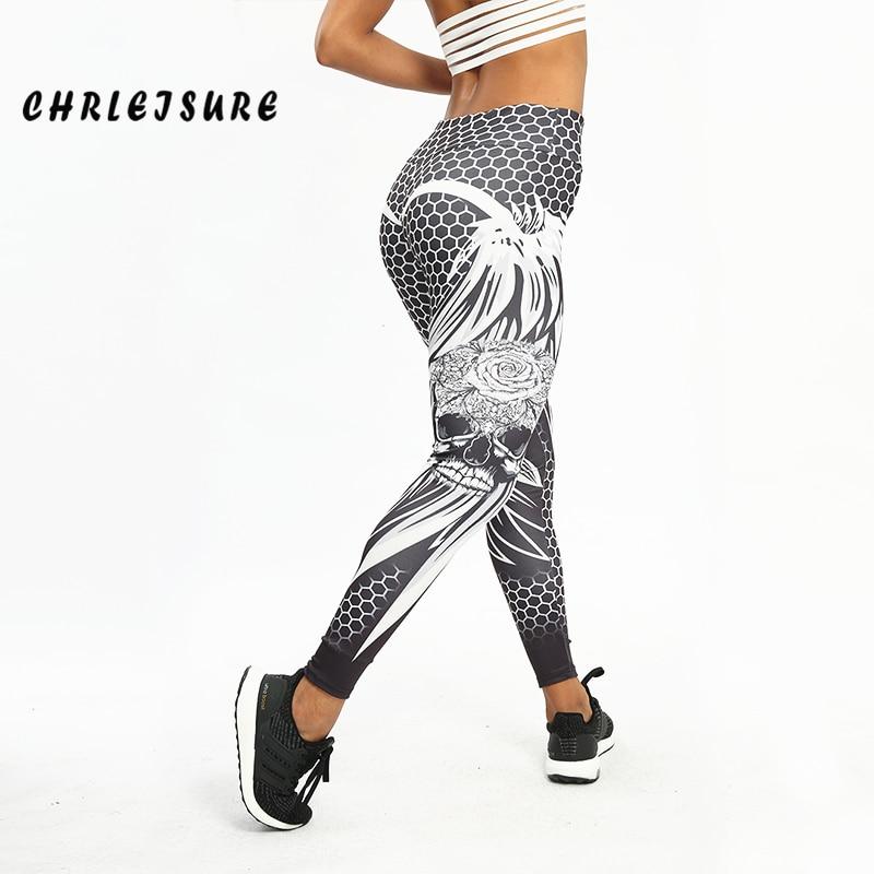 CHRLEISURE Honeycomb Skull Fitness leggins Color sólido Sexy Fashion Print Leggings poliéster Wings High Waist mujeres Legging