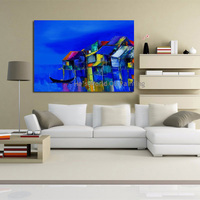 Cartoon Free Shipping 100% Hand Painted House Landscape Oil Painting Home Decoration Modern Wall Pictures Blue Sky Canvas Art