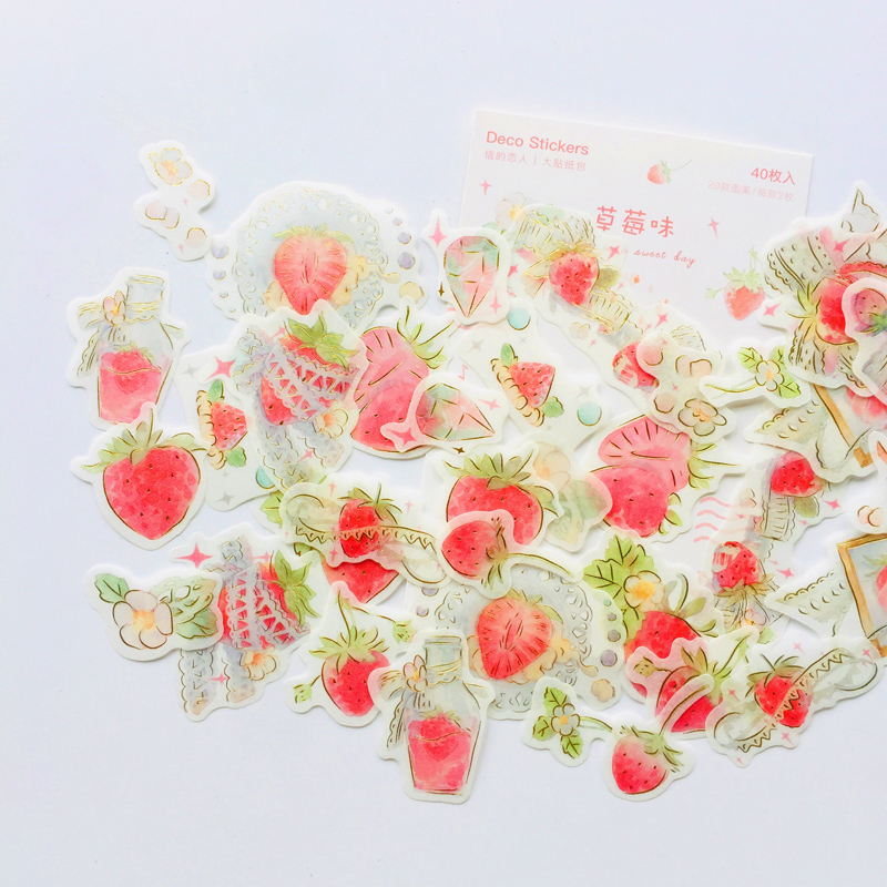 40PCS /Bag Summer Style Strawberry & Milk Tea Paper Adhesive Label Stickers Hand Account Decoration Stickers