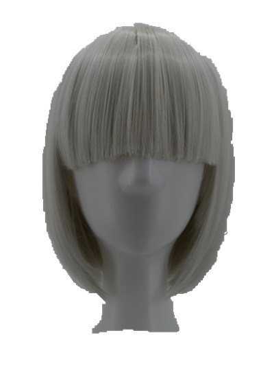 Silver Wig Fei-Show Synthetic Heat Resistant Student Wavy Hairpiece Peruca Pelucas Costume Cos-play Cartoon Role Short Bob Hair