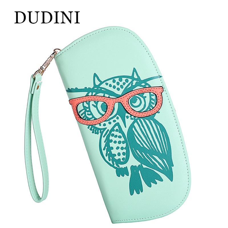 DUDINI Cute Owl <font><b>Glasses</b></font> Women Leather <font><b>Wallets</b></font> Hit Color <font><b>Printing</b></font> Female Purse Korean Zipper <font><b>Long</b></font> Ladies Clutch Card Girl Holder