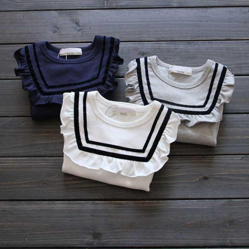 2018 herbst Winter Kleinkind Baby Rüschen T Shirts Langarm Drucken Tops Mädchen Shirts Kleidung Navy Grundlegende Shirts Kinder T-Shirt JW6626