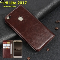 Deluxe Wallet Case For Huawei Ascend P8 Lite 2017 Genuine Cow Leather Case Flip Cover Phone