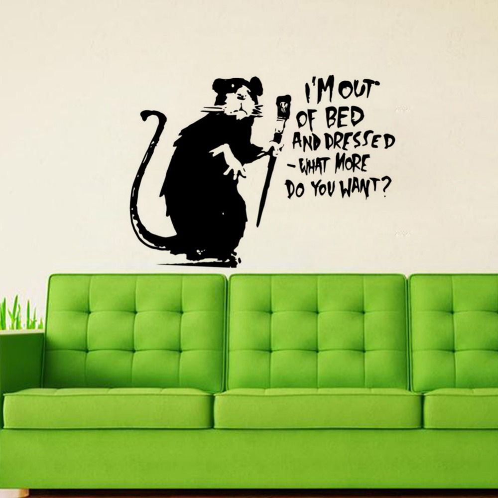 Banksy Sticker Decal vinyl graffiti street art i/'m out of bed and dressed rat