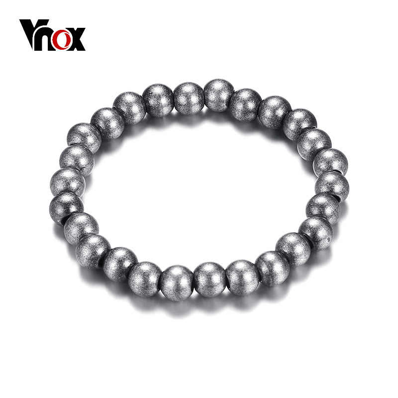 Vnox Stylish Antique Surface Finish Elastic Beaded Bracelet For Women 8mm Stainless Steel Beads Casual Female Jewelry Pulseira