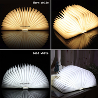Creative Wooden Foldable Foldable Pages Led Book Shape Night Light Lighting Lamp Portable Booklight Usb Rechargeable