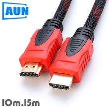 AUN 1,4 versión HDMI Cable en doble imán. 10 m, 15 m Cable HDMI soporte 3D, 1080 p para TV, Monitor HD, AUN proyector
