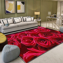цена на Creative 3D Romantic Red Rose Print Rug Flannel Valentine's Day Home Decor Soft Rug and Carpets for Living Room Bedroom Area Rug