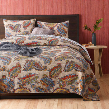 American Feather Print Bedspread Quilt Set 3pcs Quilted Cotton Quilts Blanket Bed Covers Ab Side King Size Quality Coverlet Set Leather Bag