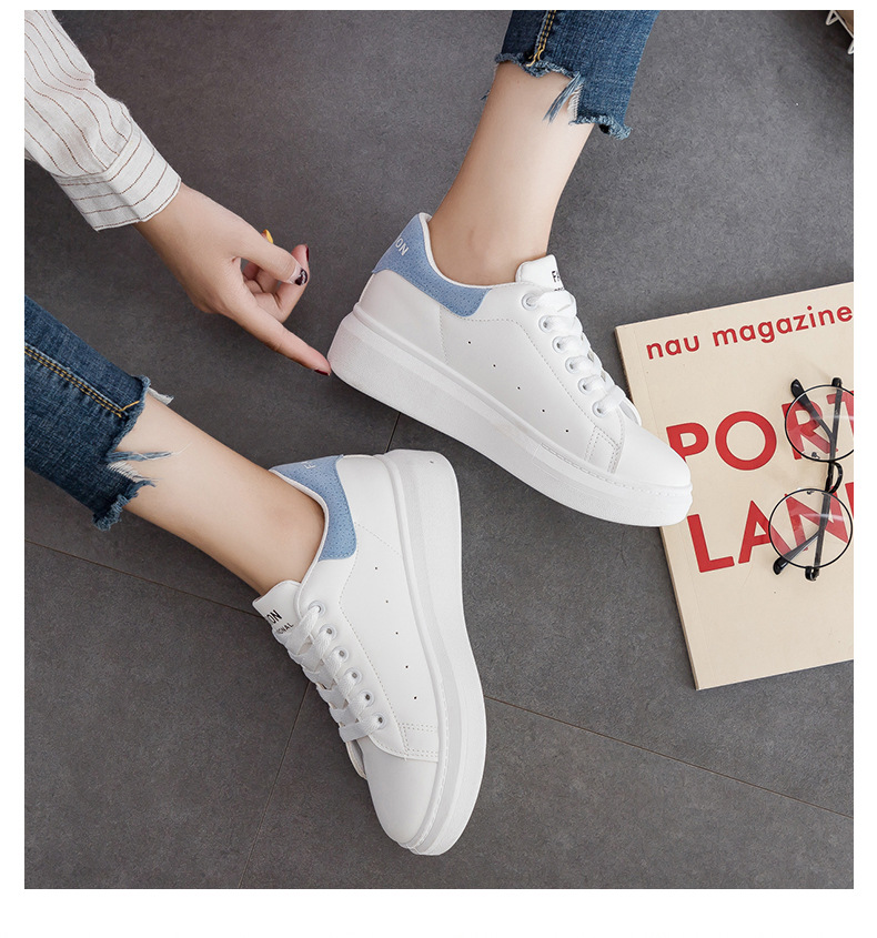 2019 Spring Girls Skateboard Shoes Children's Casual Shoes Big Children White Pu Microfiber Leather Sports Shoes