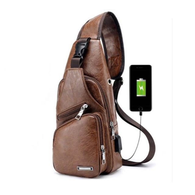 BYCOBECY 2018 Men s Chest Bag Retro PU Leather Single Shoulder Bag Leisure  Travel Messenger Bag Chest Pocket Cross Body Bag 227c0e8937d61