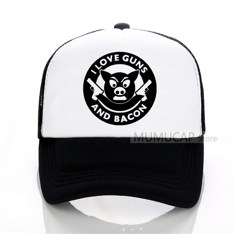 Funny women men I Love Guns And Bacon print Baseball caps Mesh Net Trucker Tennis Sport Caps Hat