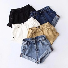 Summer 2019 new women Pleat curling shorts denim hot shorts female denim casual shorts  High waist Split Hem denim shorts women contrast stitch and striped curved hem denim shorts