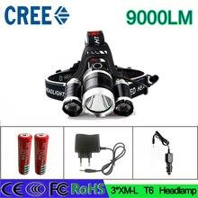Z30 3T6 headlamp 3x XM-L T6  LED Headlight 9000 Lumen Head Lamp Flashlight Torch Lanterna Headlamp for batteries and charger