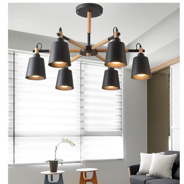 Oak Wood White Chandelier Ceiling Lamp Fixture Modern Nordic Japanese Hanging Light Lustre Avize Home Bedroom Living Room Salon noosion modern led ceiling lamp for bedroom room black and white color with crystal plafon techo iluminacion lustre de plafond