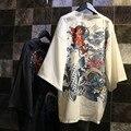 Mulheres quimono japonês Harajuku estilo moda dos desenhos animados imprimir Novidade kimono feminino tops preto branco blusas camisas outwear