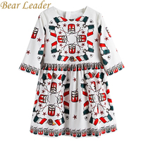 Bear Leader Girls Dress 2017New Autumn European American Style Colorful Pattern Princess Dress Luxury Girl Dress