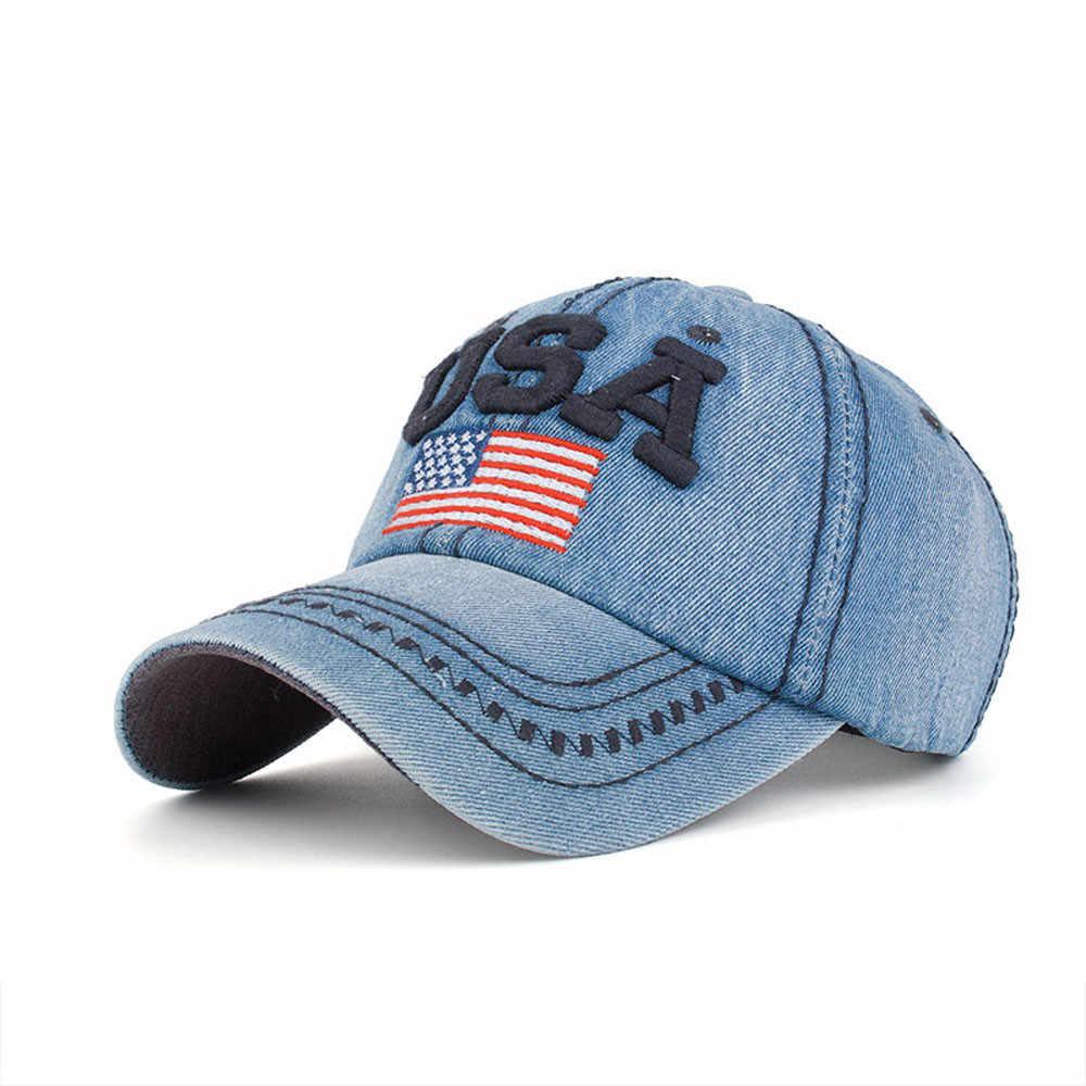 ... embroidered USA flag snapback hats denim baseball hat cap for men women  boy girls Women s Cap ... 2e6b89e928