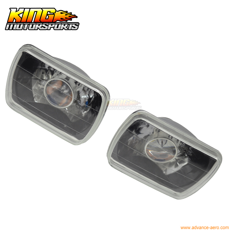 ФОТО For Universal 7X6 Black/Chrome Front Housing Headlights Lamp Projector Pair USA Domestic Free Shipping