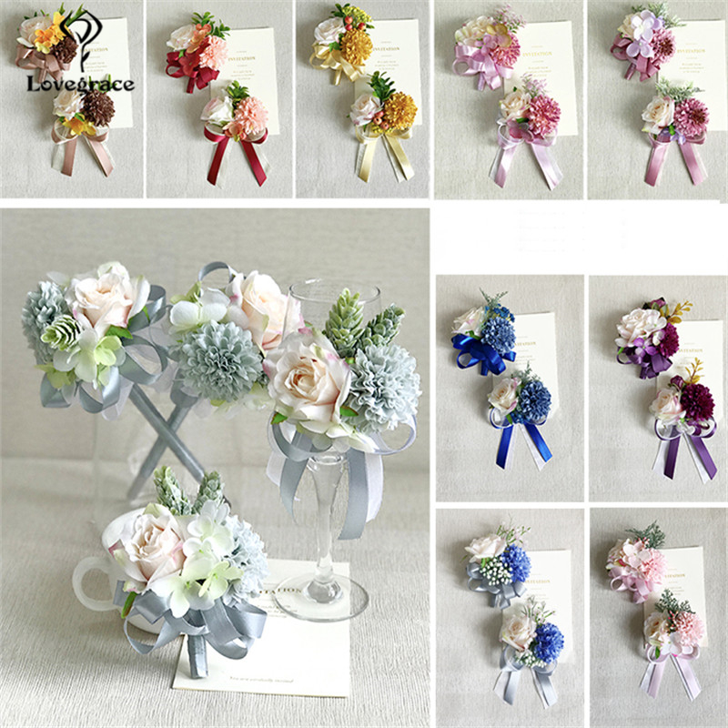 Lovegrace Wedding Accessories The Groom Men Boutonnieres Red Roses Artificial Flowers High Quality Elastic Bride Corsage Bouquet