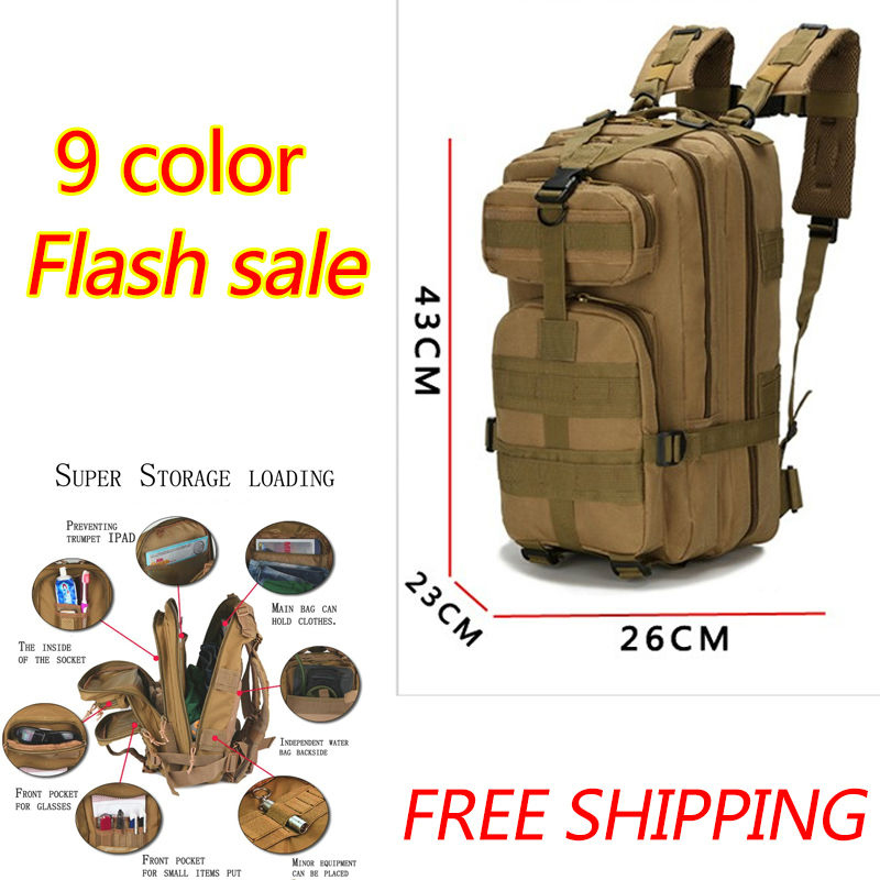 2017 Outdoor Military Backpack Tactical Bags Camping Hiking Trekking Bag Men Sport Rucksacks Militari Molle 30L Camouflage Bag outlife new style professional military tactical multifunction shovel outdoor camping survival folding spade tool equipment