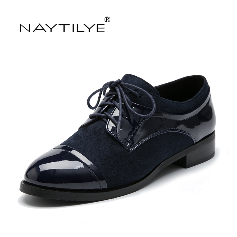 Women's Flats 2017 Casual Lace-Up Round Toe PU leather Spring/Autumn woman shoes 36-41 Free shipping NAYTILYE