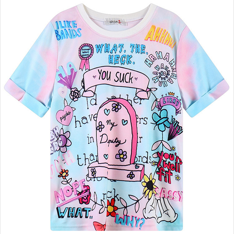 T-shirts Women Sudaderas Mujer Adorable Summer Cute Anime Pattern Women T-shirt Girls Sweet Lolita Female Tops Harajuku Shirt