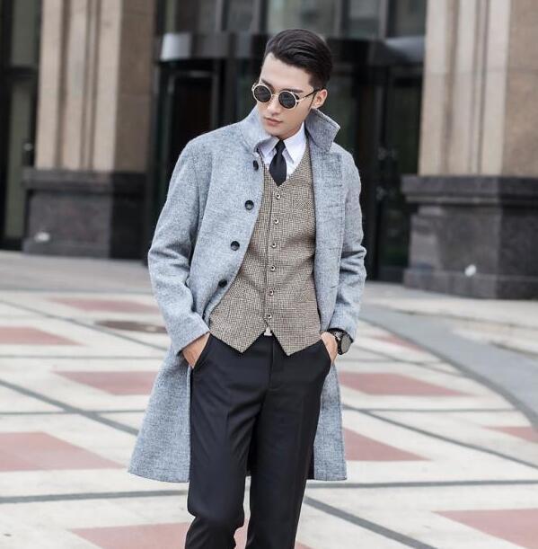 Grey Mens clothing long wool coat men grey single breasted