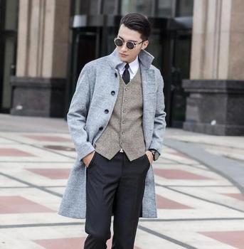 Grey Mens clothing long wool coat men grey single breasted coat outerwear trench coats sobretudo manteau homme plus size S – 9XL