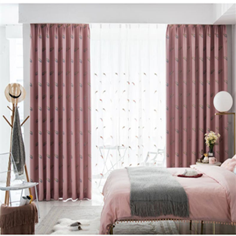 custom curtain nordic modern cotton shading feather woven cloth pink window livingroom bedroom blackout curtain M651custom curtain nordic modern cotton shading feather woven cloth pink window livingroom bedroom blackout curtain M651
