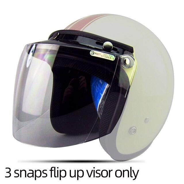 d574ced1 Free shipping 3-snap open face helmet visor vintage motorcycle helmet  bubble shield visor lens glasses retro VISOR TINTED SHIELD
