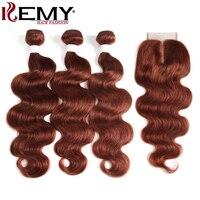 3 Bundles Human Hair With Closure 4*4 KEMY HAIR Brazilian Body Wave Human Hair Weave Bundles Non Remy Hair Brown Auburn 33#