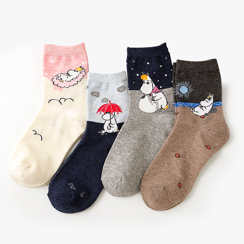 Cartoon Moomin Fancy Korean Sweet Cotton Casual   Socks   Woman Winter Warm Streetwear Cute Funny   Socks   Short Happy Ankle   Socks
