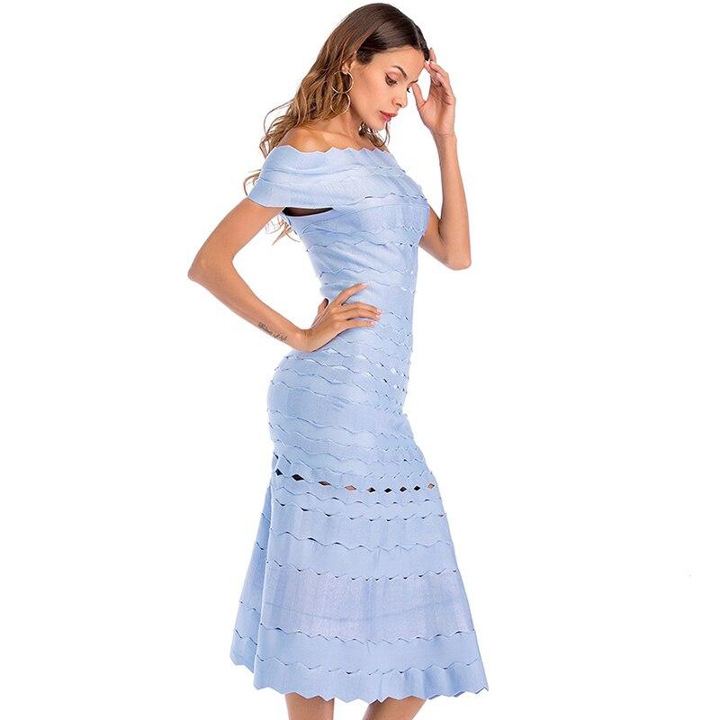 Eleganckie sukienki damskie lato 2019 nowe mody Celebrity klub długa sukienka na imprezę niebieski Hollow Out off shoulder bandażowy sukienka kobiety w Suknie od Odzież damska na  Grupa 2